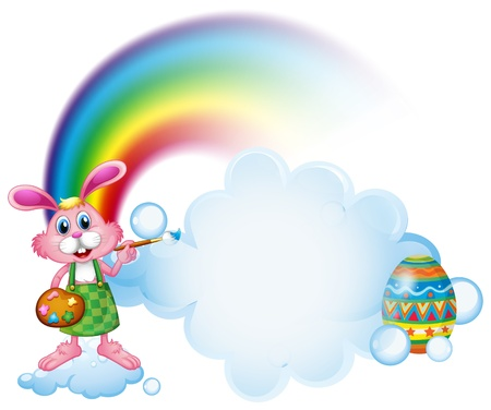 Illustration of a bunny painting near the rainbow on a white background Vector