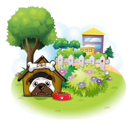 Illustration of a dog in the garden across the high buildings on a white background Vector