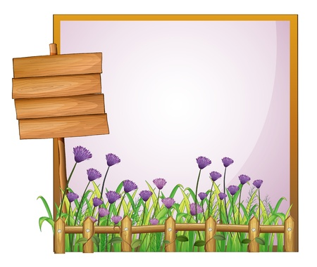 cartoon menu: Illustration of a frame with flowers and the empty board on a white background