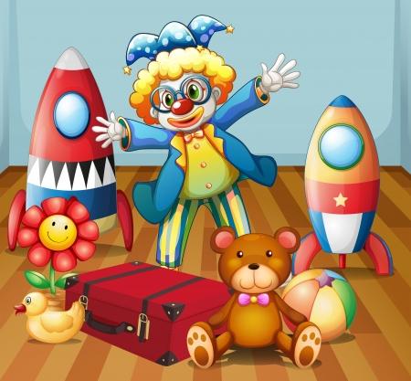 toy ducks: Ilustraci�n de un payaso con muchos juguetes