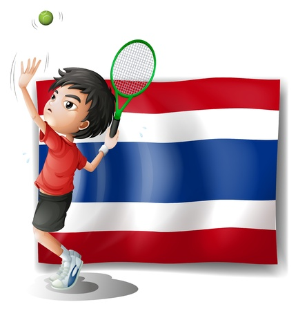 Illustration of an athlete in front of the Thailand flag on a white background Vector