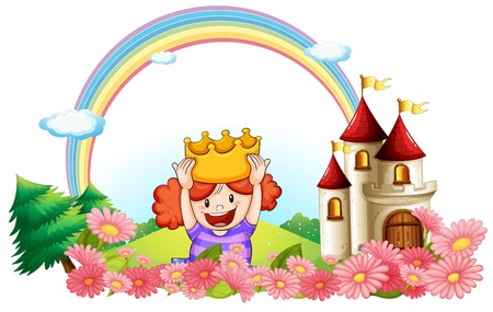 cartoon princess: Illustration of a princess with a castle at the back on a white background