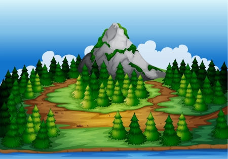 temperate: Illustration of an island full of pine trees