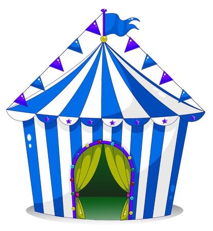 Ilustración de una tienda de circo en un fondo blanco Vectores
