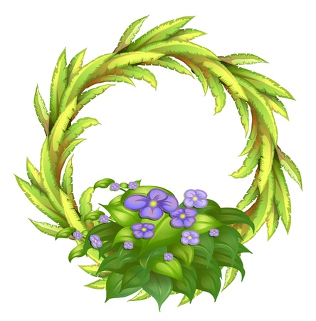 Illustration of a round frame made of plants with violet flowers on a white background Vector