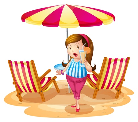 Illustration of a fat girl holding a juice near the beach umbrella with chairs on a white background Stock Vector - 18610533
