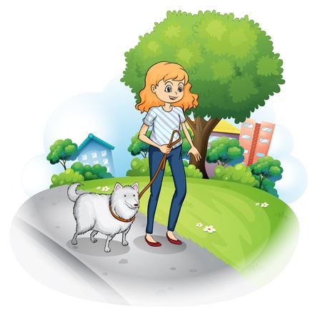 establishments: Illustration of a lady strolling with her dog on a white background