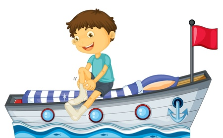 cartoon bed: Illustration of a boy sitting in the boat fixing his sock on a white background Illustration