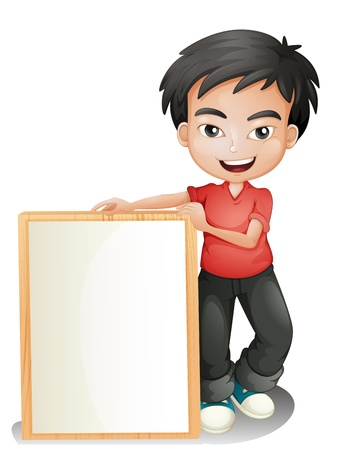 people holding sign: Illustration of a boy holding an empty framed board on a white background Illustration