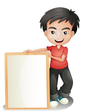 niños sosteniendo un cartel: Ilustración de un muchacho que sostiene un tablero vacío enmarcado en un fondo blanco