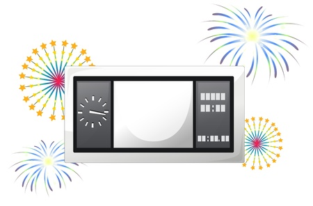 scoreboard: Illustration of a scoreboard with fireworks on a white background