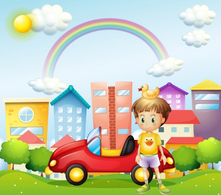 yellow car: Illustration of a young boy with a rubber duck and his car in front of the high buildings
