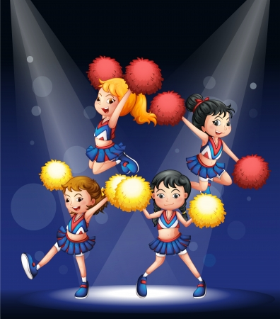 picutre: Illustration of a cheering squad with red and yellow pompoms