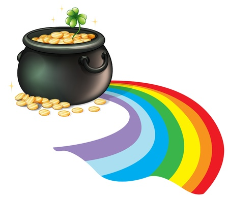 pot of gold: Illustration of a pot of gold coins with a green plant on a white background