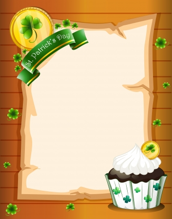 Illustration of a blank paper with a St. Patricks Day greeting and a cupcake Vector