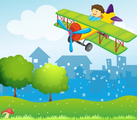 establishments: Illustration of a boy riding in a plane above the hill