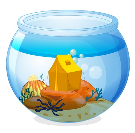 picutre: Illustration of a tent inside the aquarium on a white background Illustration