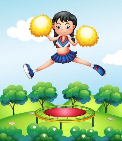 cheer leader: Ilustraci�n de un salto animadora Vectores