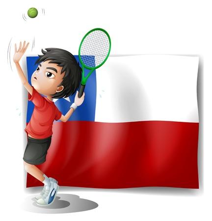 bandera de chile: Ilustración de un jugador de tenis con la bandera de Chile sobre un fondo blanco