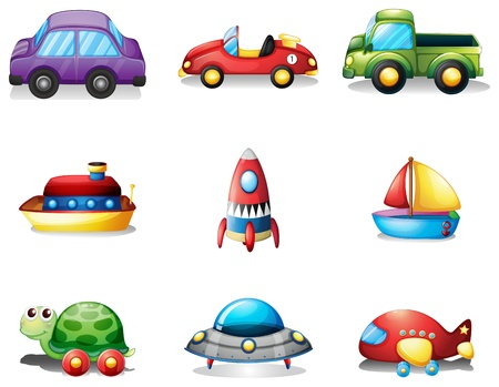 Illustration of the nine different kind of toy transportations on a white background Vector