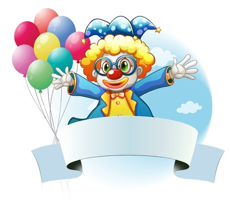 suprise: Illustration of a clown with balloons and the empty signage on a white background