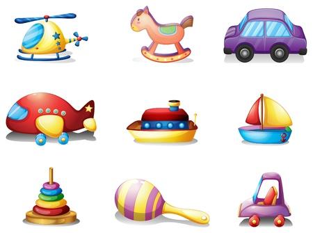 oyuncak: Beyaz bir arka plan üzerinde oyuncak dokuz farklı tür İllüstrasyon Çizim