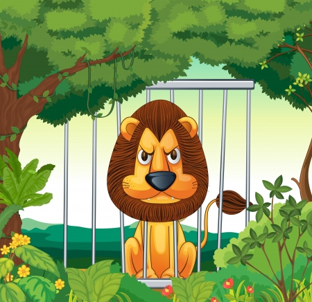 angry sky: Illustration of an angry lion inside a cage Illustration