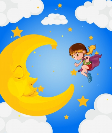 dreaming girl: Illustration of a girl near the sleeping moon