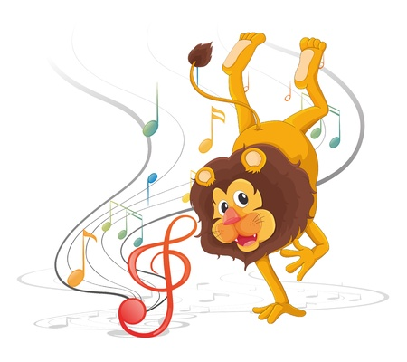 Illustration of a lion dancing with musical notes on a white background Illustration