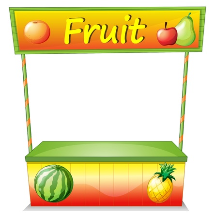 avocados: Illustration of a wooden fruit cart on a white background