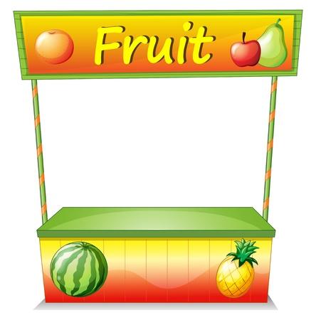 bancarella: Illustrazione di un frutto carrello di legno su uno sfondo bianco