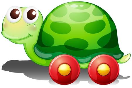 green turtle: Illustrazione di una tartaruga giocattolo con le ruote su uno sfondo bianco
