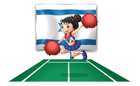 picutre: Illustration of a cheerleader dancing in front of the Israel flag on a white background