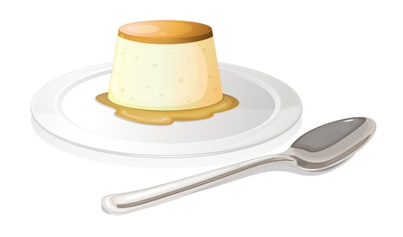 flan: Illustration of a spoon beside a plate with a leche flan on a white background