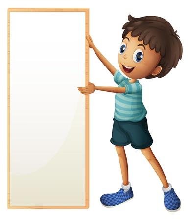 ni�os sosteniendo un cartel: Ilustraci�n de un muchacho que sostiene un tablero enmarcado en blanco