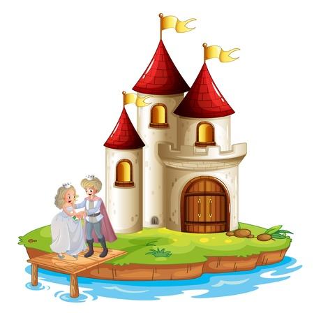 castillos de princesas: Ilustración de un príncipe y una princesa con un castillo en la parte posterior en un fondo blanco