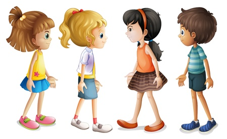 four friends: Illustration of the four kids facing each other on a white background Illustration