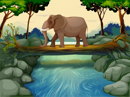 Illustration of an elephant crossing the river Vector