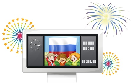 scoreboard timer: Illustration of the flag of the Russian Federation and the three happy kids on a white background Illustration