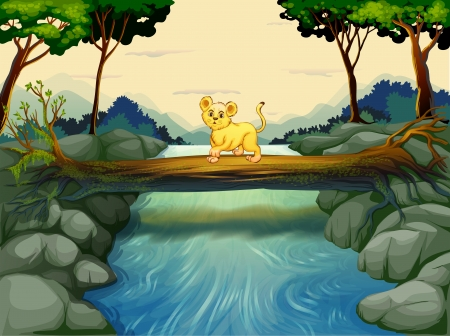 Illustration of a young tiger crossing the river Vector