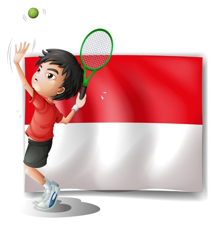 Illustration of a tennis player with the Indonesian flag on a white background Vector