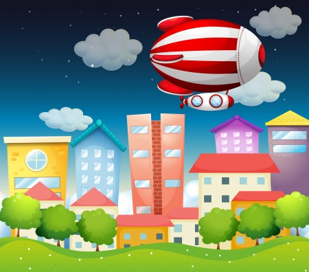 Illustration of an aircraft above the buildings Stock Vector - 18610721