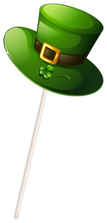 patron saint of ireland: Illustration of a green hat with a stick on a white background