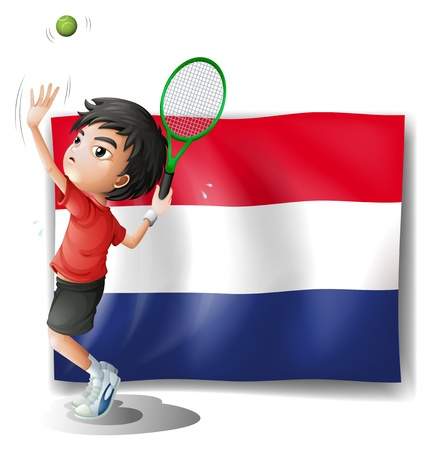 3D illustrations: Illustration of a boy playing tennis in front of the Netherlands flag on a white background