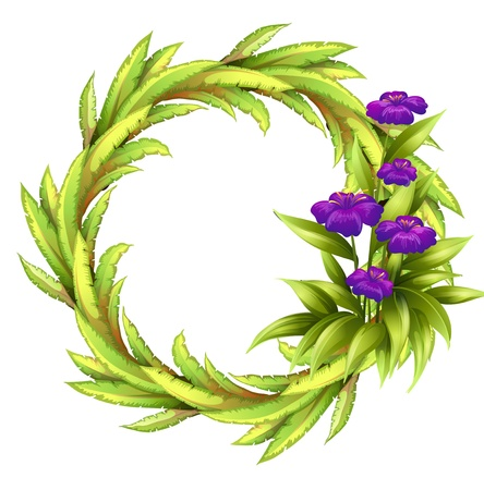 Illustration of a round frame with violet flowers on a white background Stock Vector - 18610644