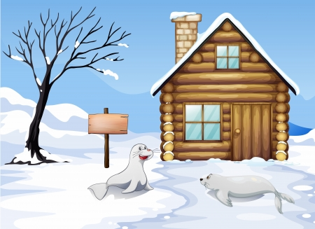 Illustration of a wooden signboard in the snow Vector