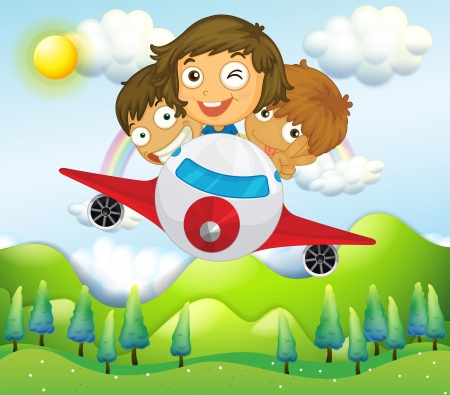 Illustration of an airplane with three playful kids Vector