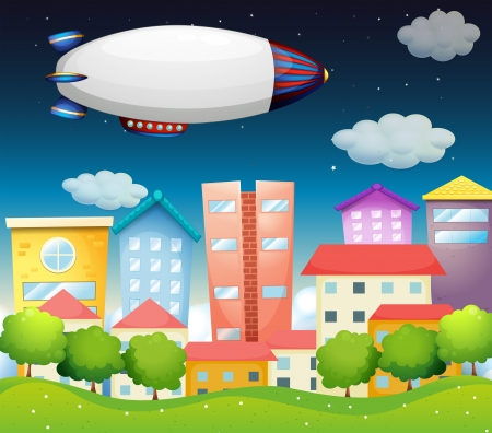 luftschiff: Darstellung eines Flugzeugs in der Stadt Illustration