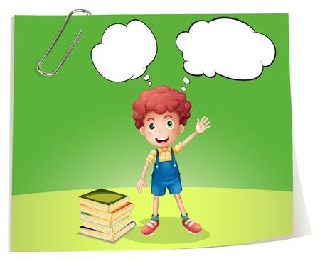 denkender mensch: Illustration eines Jungen mit Blase Notizen