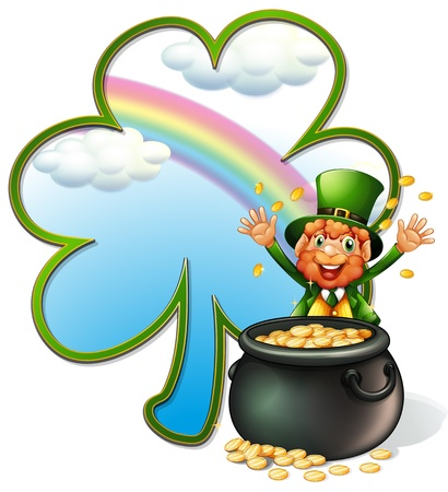 leprechaun background: Illustration of a rich man with a pot of gold coins on a white background